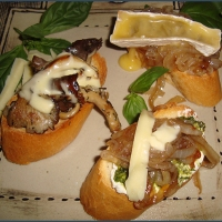 French loaf open sandwiches