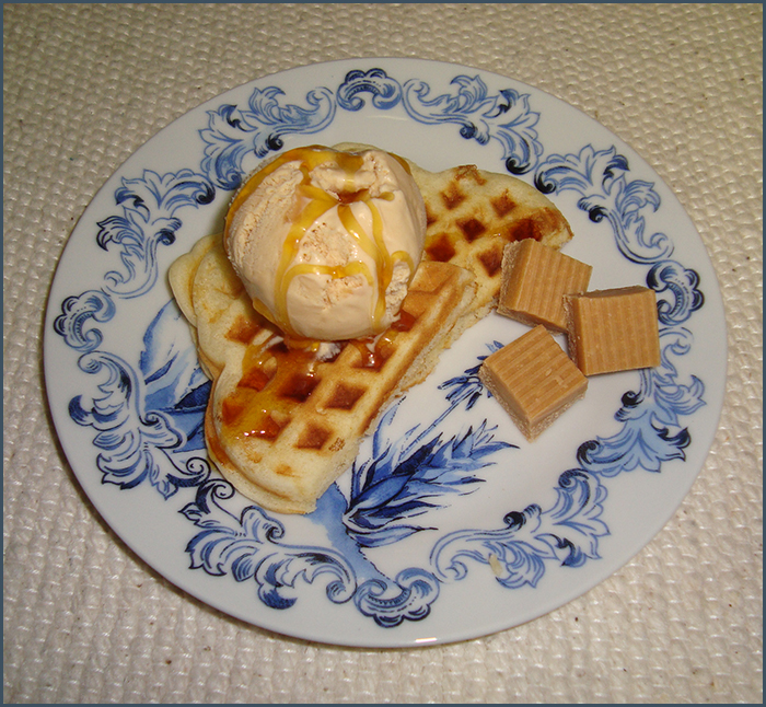 waffles-with-creme-caramel-ice-cream