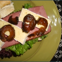 Pastrami, brie and fig sandwiches