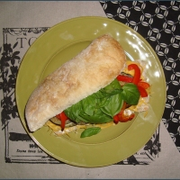 Brinjal and red pepper sandwich