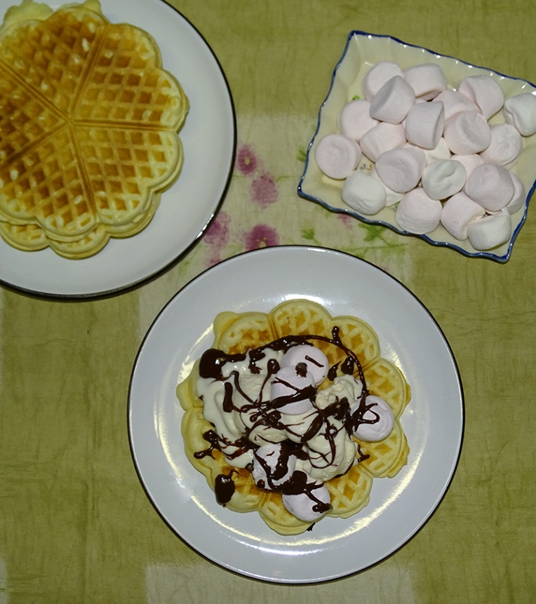 waffles-with-vanilla-ice-cream-marshmallows-choc-sauce-3