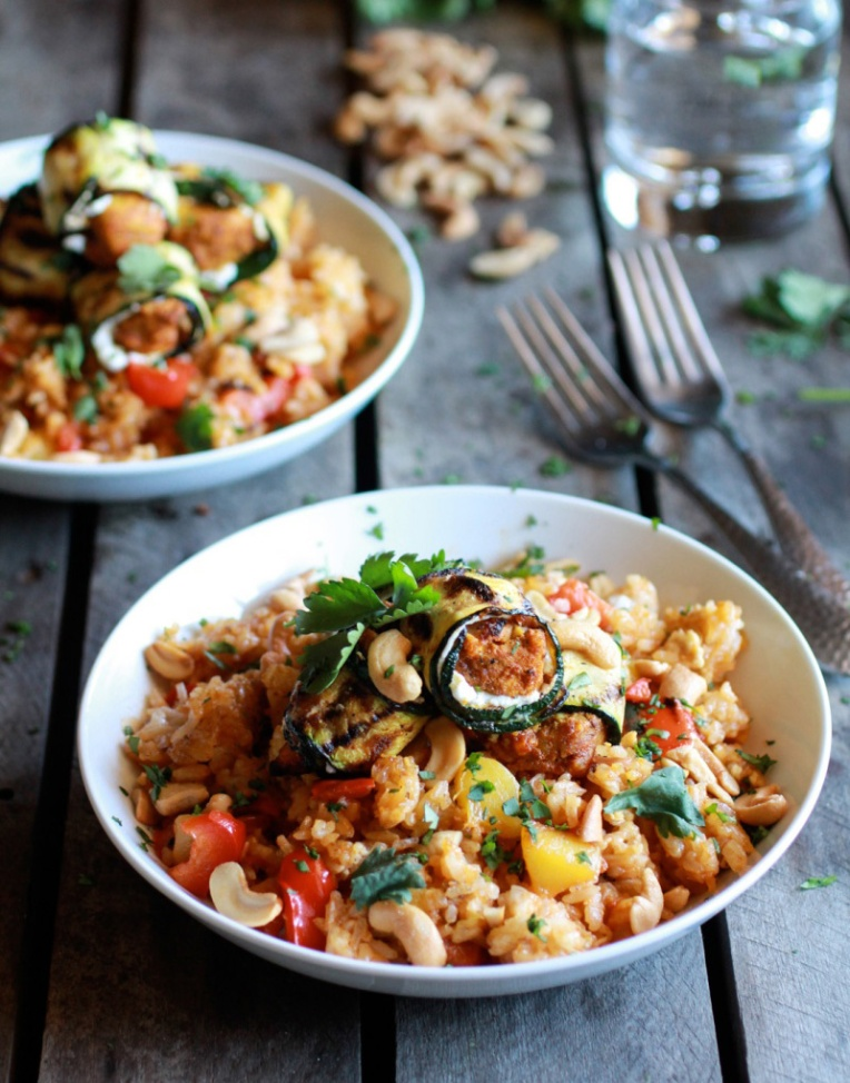 Curried-Zucchini-Chicken-and-Goat-Cheese-Rolls-with-Mango-+-Cashew-Fried-Rice-1