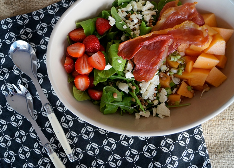 melon and strawberry salad with bacon and feta 1