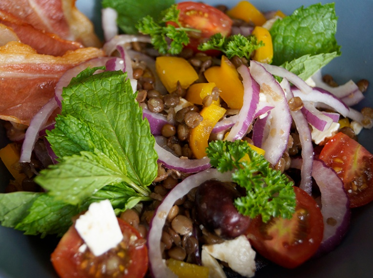 Lentil salad with feta bacon and mint 2