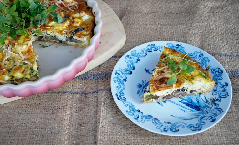 Mushroom and herb quiche 3