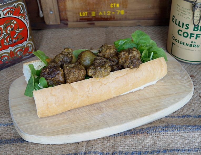 Ostrich curried meatball subs 1