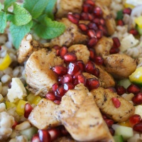 Pearl barley and chicken salad with pomegranate